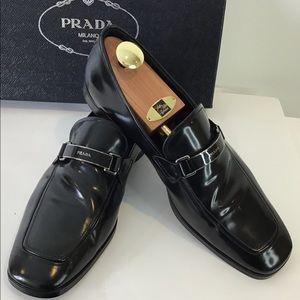 PRADA Men's Spazzalato Leather Loafers w/ Bar Logo